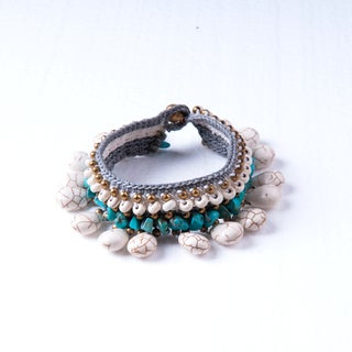 Thai-Handicraft White and Blue Turqouise Bracelet (Thailand)