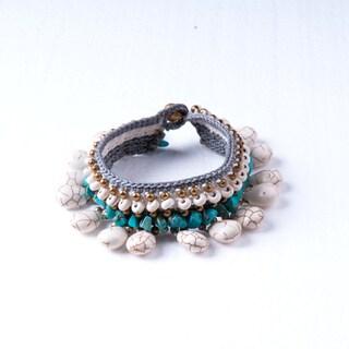 Handmade Thai-Handicraft White and Blue Turqouise Bracelet (Thailand)