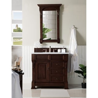 James MArtin Furniture Brookfield Burnished Mahogany Single Cabinet Vanity with Drawers