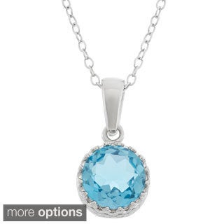 Gioelli Sterling Silver 8mm Round-cut Gemstone Crown Pendant Necklace
