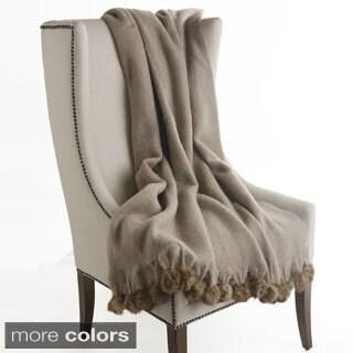 Aurora Home Mohair Blend Rabbit Pom Pom Wool Throw
