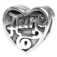 Queenberry Sterling Silver Heart Love Aunt Family European Bead Charm