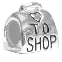 Queenberry Sterling Silver Love to Shop with Heart European Bead Charm