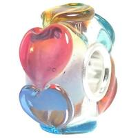 Queenberry Sterling Silver Infinity Love Goes Round Rainbow Heart Glass European Bead Charm