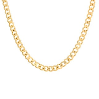 Sterling Essentials Yellow Goldplated Sterling Silver Curb Chain Necklace (6.5 mm)