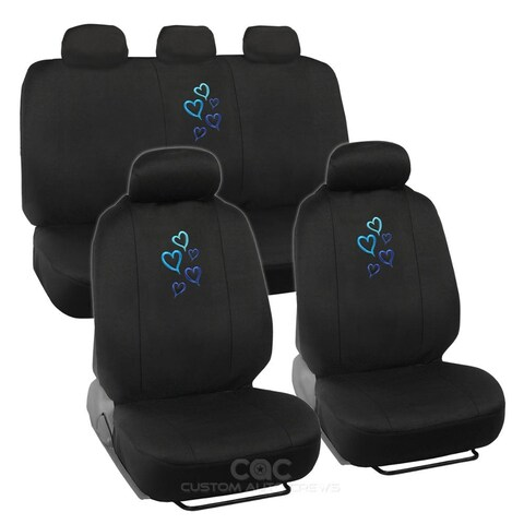 BDK Heart Design Car Seat Covers Full set (Universal Fit)