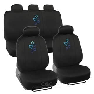 BDK Heart Design Car Seat Covers Full Set Universal Fit