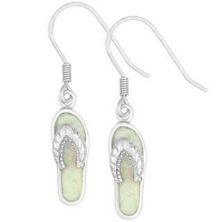 La Preciosa Sterling Silver White Opal Flip Flop Dangle Earrings
