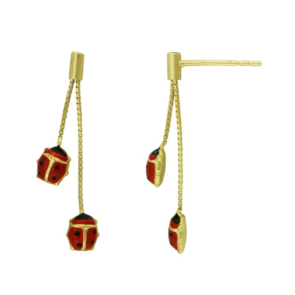 09d5d0ce3a72e 14K Yellow Gold Dangling Ladybug Earrings