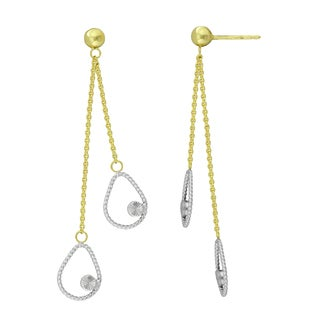 14K Yellow and White Gold Teardrop Dangle Earrings