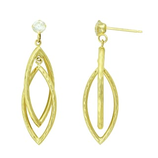 14K Yellow Gold and CZ Diamond Cut and Double Marquise Drop Earrings
