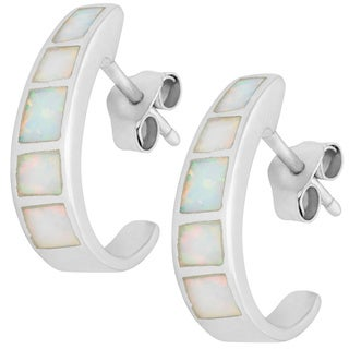 La Preciosa Sterling Silver White Opal Half-hoop Earrings