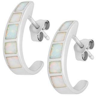 La Preciosa Sterling Silver White Opal Half-hoop Earrings
