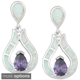 La Preciosa Sterling Silver White Opal Cubic Zirconia Teardrop Earrings