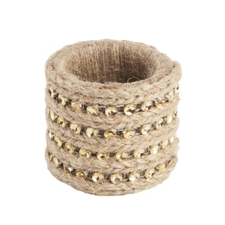 Jute with Studs Napkin Rings (Set of 4)