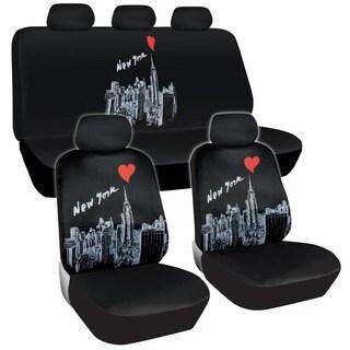 BDK New York Design Car Seat Covers Full Set (Universal Fit)