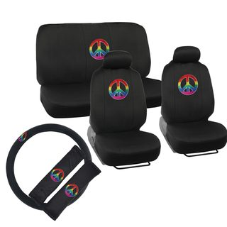 BDK Peace Design Car Seat Covers Full Set (Universal Fit)
