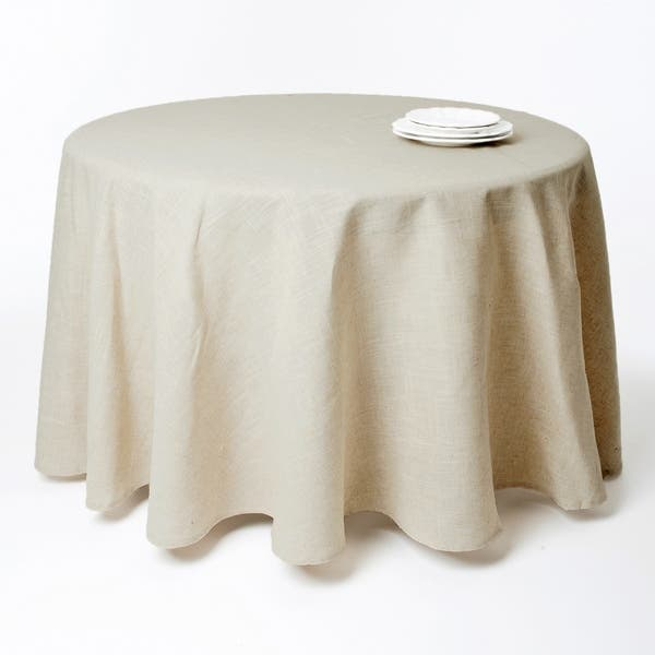 Toscana Natural Round Tablecloth On Sale Overstock 9633093 90 X 90
