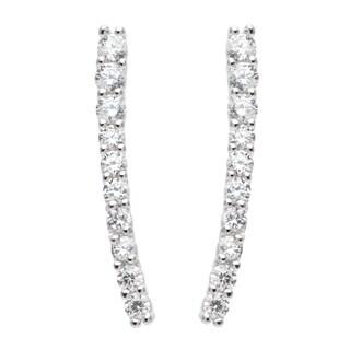 La Preciosa Sterling Silver Cubic Zirconia Vertical Curved Bar Earrings