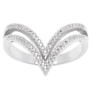 La Preciosa Sterling Silver Cubic Zirconia Double Band Tipped Trendy Ring