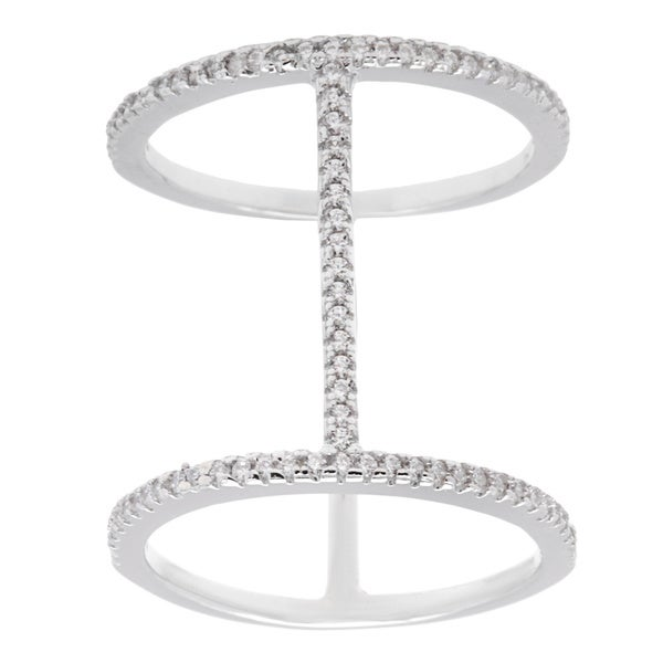 La Preciosa Sterling Silver Cubic Zirconia Long Bar Ring