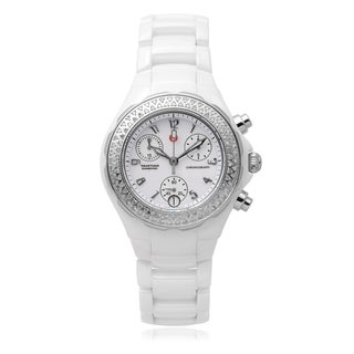 Michele Ceramic 'Tahitian' 1/2 TDW Link Chronograph Watch (I-J, I2-I3)
