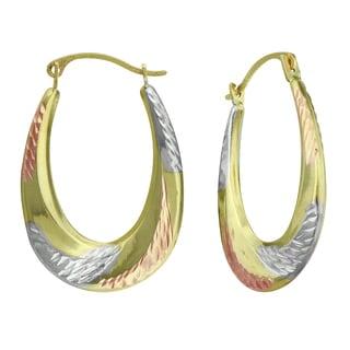 14K Tri-color Gold Swirl Tapered Hoop Earrings