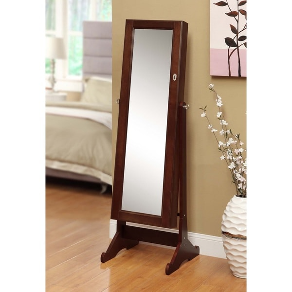 Premium Cherry Wood Cheval Mirror Jewelry Cabinet Organizer Case