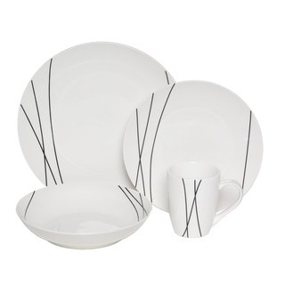 Melange Black Lines 16-piece Premium Dinnerware Set