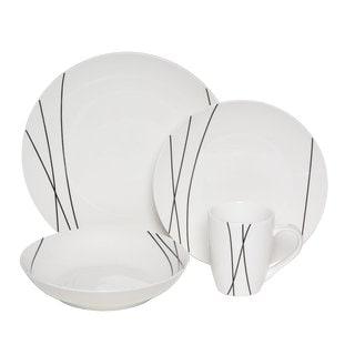 Melange Black Lines 16-piece Premium Dinnerware Set