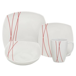 Melange Red Lines 32-piece Premium Dinnerware Set