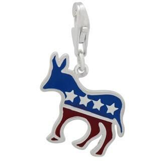 Gioelli Sterling Silver Enamel Democrat Donkey Charm
