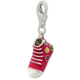 Gioelli Sterling Silver Pink Enamel Sneaker Charm