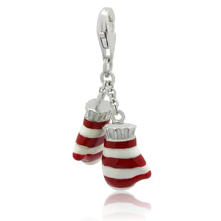 Gioelli Sterling Silver Red and White Enamel Pair of Mittens Charm