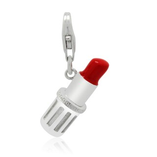 Gioelli Sterling Silver Red Enamel Lipstick Charm