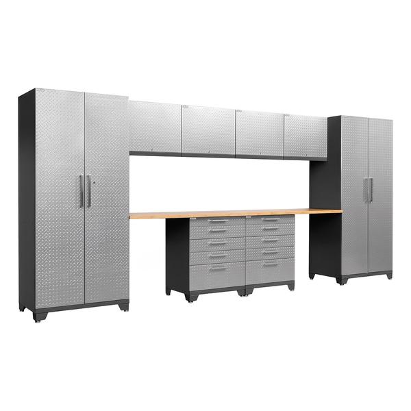 NewAge Products Performance Plus Diamond Plate 10-piece Metal Cabinet Set