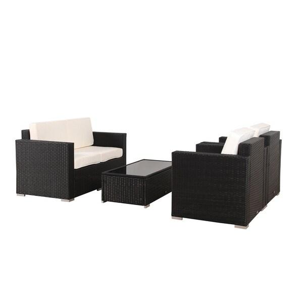 BroyerK 4 piece Outdoor Rattan Patio Furniture Set   Free Shipping Today    Overstock com   16819329. BroyerK 4 piece Outdoor Rattan Patio Furniture Set   Free Shipping