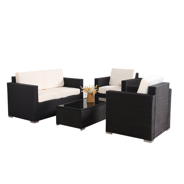 Rattan Table Set Part - 40: BroyerK 4-piece Outdoor Rattan Patio Furniture Set - Free Shipping Today -  Overstock.com - 16819329