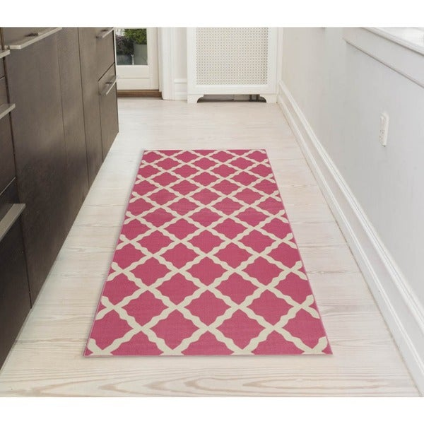 Shop Ottomanson Pink Collection Hot Pink Contemporary