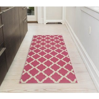 Ottomanson Pink Collection Hot Pink Contemporary Moroccan Trellis Design Roll Runner Rug (1'8 x 4'11)