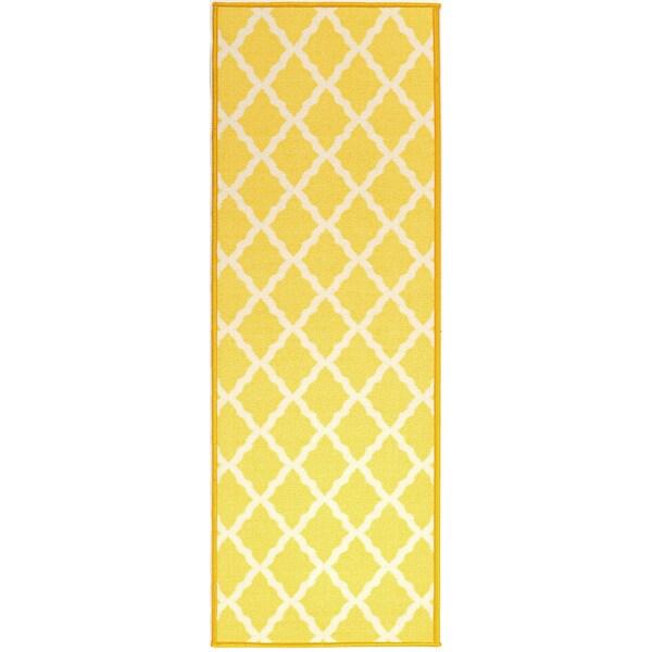 Ottomanson Pink Collection Yellow Moroccan Trellis Design