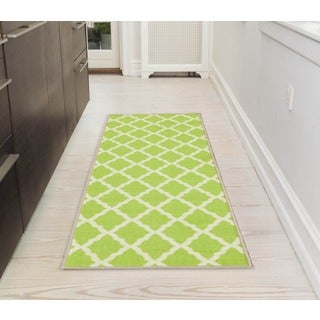 Ottomanson Pink Collection Green Contemporary Moroccan Trellis Design Roll Runner Rug (1'8 x 4'11)