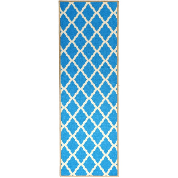 Ottomanson Pink Collection Blue Contemporary Moroccan
