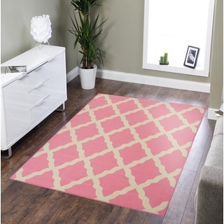 Ottomanson Pink Collection Pink Contemporary Moroccan Trellis Design Area Rug (3'3 x 5')
