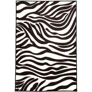 Ottomanson Pink Collection White, Black Animal Print Zebra Design Area Rug (3'3 x 5')