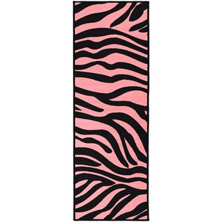Ottomanson Pink Collection Pink, Black Animal Print Zebra Design Roll Runner Rug (1'8 x 4'11)