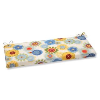 Pillow Perfect Crosby White Flower Style Bench Cushion