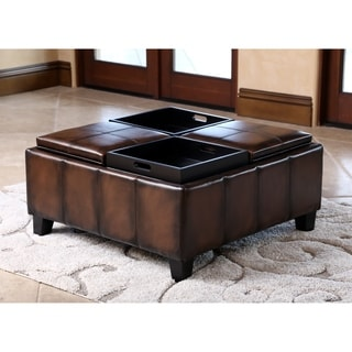 Abbyson Vincent Hand Rubbed Brown Leather Square Ottoman with 4 Trays