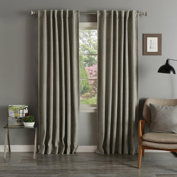 Aurora Home Grey Houndstooth Wool 84 Inch Curtain Panel