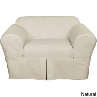 Classic Two-piece Twill Chair Slipcover (Option: Off White)